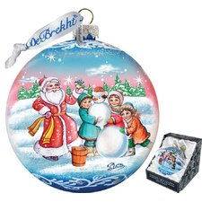 Holiday Christmas Village Glass Ornament