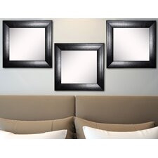 Ava Stitched Black Leather Wall Mirror (Set of 3)