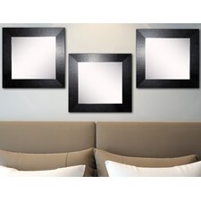 Ava Black Wide Leather Wall Mirror (Set of 3)