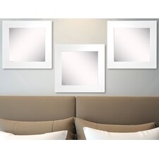Ava White Satin Wide Wall Mirror (Set of 3)
