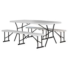 "3 Piece 72"" Rectangular Folding Table Set"
