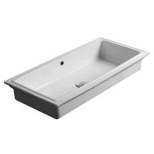 City Rectangular Undermount Bathroom Sink with Overflow