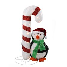 Lighted Candy Cane And Penguin