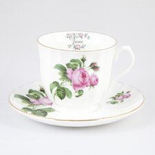 Flowers of the Month June 30cm Bone China Cup and Saucer