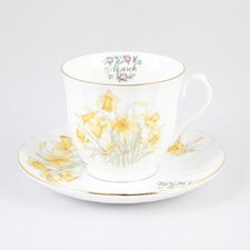 Flowers of the Month March 30cm Bone China Cup and Saucer