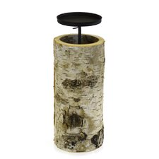 Birch Wood and Metal Dish Candle Holder