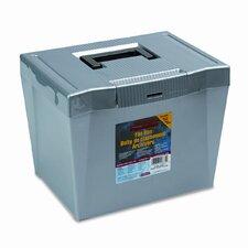 "Portable File Storage Box, Letter, Plastic, 10.8"" H x 13.5"" W x 10.25"" D"