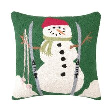 Snowman with Skis Hook Wool Throw Pillow