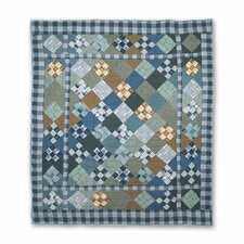 Chambray Nine Patch Cotton Throw Quilt