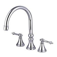 Double Handle Deck Mount Solid Brass Roman Tub Faucet Trim Templeton Lever Handle