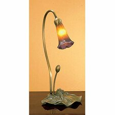 """16"""" Amber / Purple Pond Lily Accent Arched Table Lamp"""
