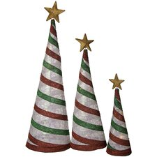 3 Piece Glittering Christmas Tree Decoration Set