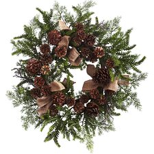 """24"""" Pine and Pine Cone Wreath"""