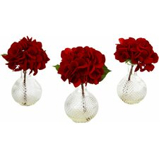 Red Hydrangea with Glass Vase (Set of 3)