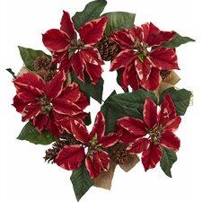 """22"""" Poinsettia, Pine Cone and Burlap Wreath"""