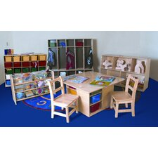 7 Piece Classroom Double Sided 25 Compartment Shelving Unit with Trays