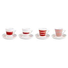 4-tlg. Tassen- und Untertassen-Set Stripes