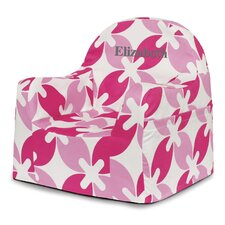 Little Reader Pink Leaves Personalized Kids Foam Chair with Storage Compartment