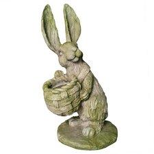 Garden Décor Sam Rabbit with Basket Statue