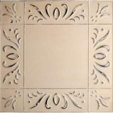 """11"""" x 11"""" Metal Hand-Painted Tile in Oatmeal"""