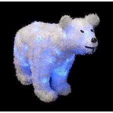 Battery Operated Lighted Tinsel Polar Bear Christmas Decoration