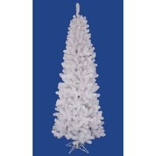 6.5' White Salem Pine Pencil Artificial Christmas Tree with LED Multi Lights