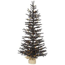 4' Black Pistol Artificial ChristmasTree with LED Orange Lights