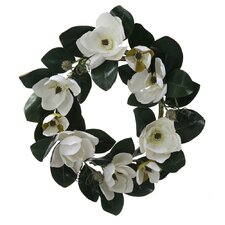 "26"" Artificial Magnolia Flower and Leaves Silk Floral Wreath"