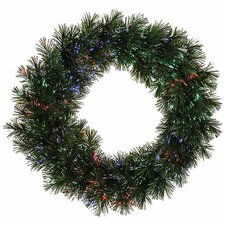 "30"" Lighted Artificial Fiber Optic Pine Christmas Wreath"