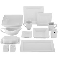 Simply Square Porcelain 40 Piece Dinnerware Set, Service for 6