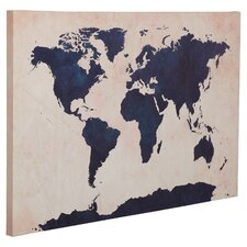 world map navy framed graphic art print on canvas
