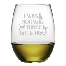 Three Cats Ago Stemless Wine Glass (Set of 4)