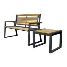 California Room Classic Teak and Iron Park Bench