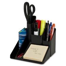 """Desk Organizer, 5 Compartments, 6""""x6""""x6"""", Black"""