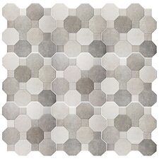 "Imagino 17.75"" x 17.75"" Ceramic Mosaic Tile in Cement"