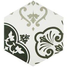 """Fantazio Mix Hexagon 9.88"""" x 8.63"""" Porcelain Patterned/Field Tile in Green"""