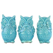 Ceramic Standing Owl No Evil 3 Piece Figurine Set