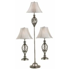 Cerise 3 Piece Table and Floor Lamp Set