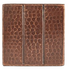 """4"""" x 4"""" Hammered Copper Linear Tile in Oil Rubbed Bronze (Set of 8)"""