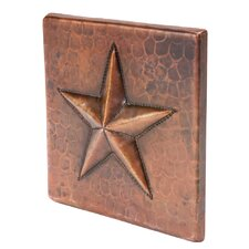 """4"""" x 4"""" Hammered Copper Star Tile in Oil Rubbed Bronze (Set of 4)"""