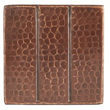 """4"""" x 4"""" Hammered Copper Linear Tile in Oil Rubbed Bronze (Set of 4)"""