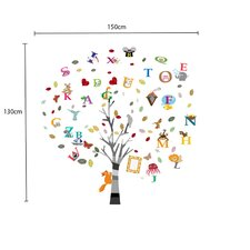 Children's Nursery Alphabet, Animal and Tree Wall Sticker