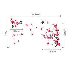 Pink Blossom Flower Art with Tree Branches Wall Sticker