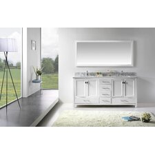 "Stoneham 72.8"" Double Bathroom Vanity Set with Carrara White Top and Mirror"