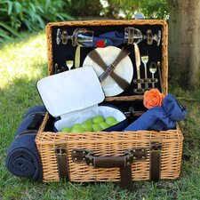 English Style Willow Picnic Basket with Blanket