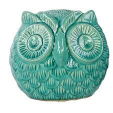 Ceramic Spherical Owl Figurine