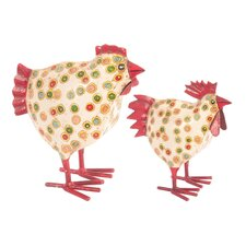 2 Piece Dotty Chicken Figurine Set