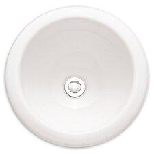 Vitreous China Circular Undermount Bathroom Sink with Overflow