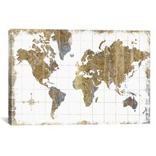 Gilded Map Graphic Art Print on Canvas