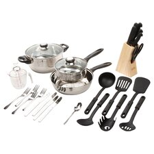 Lybra 32 Piece Stainless Steel Cookware Combo Set